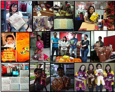 Some MACS Ninongs and Ninangs holding the gifts for their MACS Inaanak.