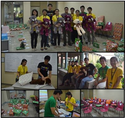 MACS volunteers (mostly Business Economics students of UA&P) help out in preparing the gifts for ship out to Tolosa, Leyte.