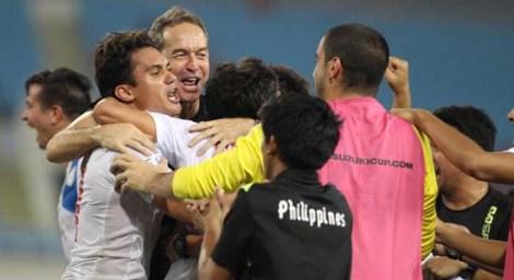 Coach Thomas Dooley celebrating with the Azkals vs. Bahrain